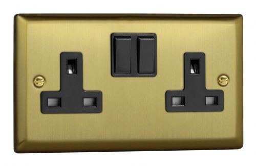 Varilight XY5B.BB Urban Brushed Brass 2 Gang Double 13A Switched Plug Socket